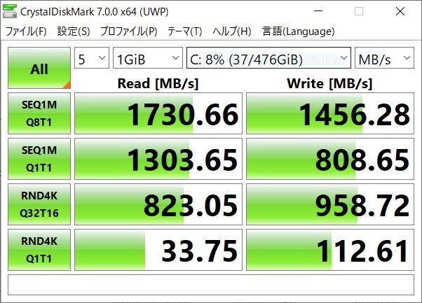 マウスコンピューター DAIV 5NのCドライブのデータ通信速度